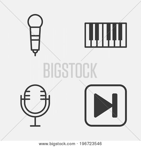 Music Icons Set. Collection Of Skip Song, Mike, Piano And Other Elements