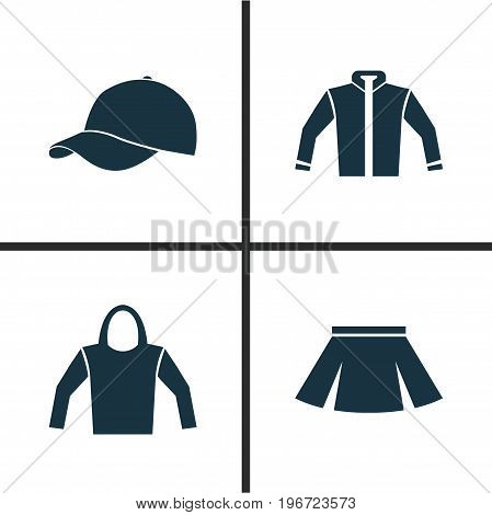 Dress Icons Set. Collection Of Sweatshirt, Trilby, Stylish Apparel And Other Elements