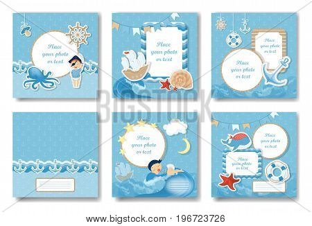 Boy album set. Covers and pages of blue photo book for new born boy.