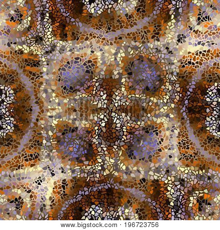 Seamless background pattern. Decorative geometric mosaic art pattern on blur background.