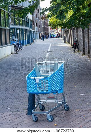 The Hague the Netherlands - 8 October 2016: abandoned shopping trolly left on the street