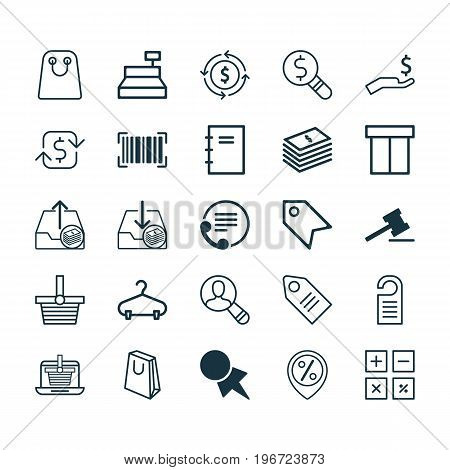 E-Commerce Icons Set. Collection Of Rich, Calculation Tool, Peg And Other Elements