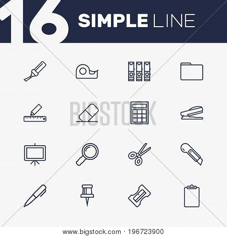Collection Of Zoom Glasses, Marker, File Folder And Other Elements.  Set Of 16 Tools Outline Icons Set.