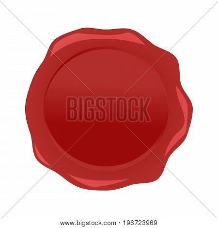 Wax seal red vector stamp isolated on white background.