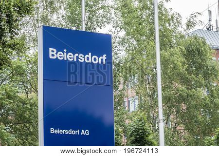 Hamburg , Germany - July 13 2017: The headquarters of Beiersdorf is responsible for the manufacturing of the personal care products like Elastoplast, Eucerin, Aquaphor, Labello, La Prairie, Nivea and tesa