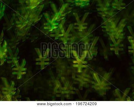 Beautiful Background With Different Colored Yen , Abstract Background, Yen  Shapes On Black Backgrou