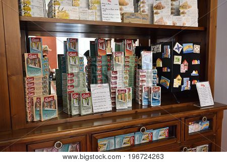 AVEIRO PORTUGAL - JUNE 10 2017: Container of sardines in olive oil in Aveiro shop. Aveiro is popular tourists destination also known as Venice of Portugal.