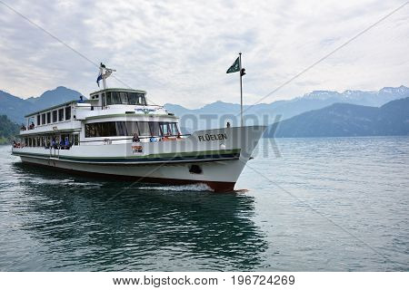 Swiss Ship On Lake Lucerne, Switzerland