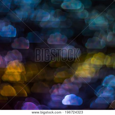 Beautiful Background With Different Colored Cloud , Abstract Background, Cloud  Shapes On Black Back