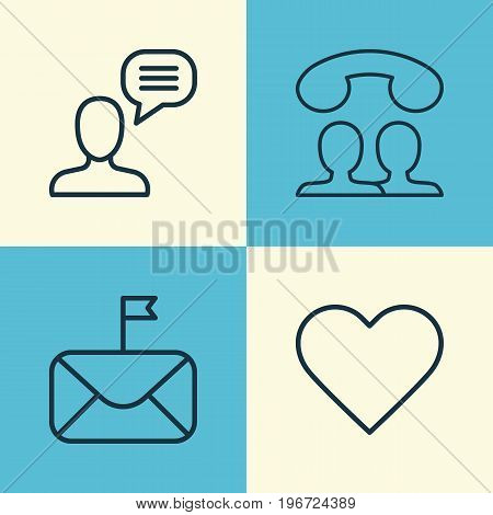 Network Icons Set. Collection Of Significant Letter, Speaking People, Follow And Other Elements