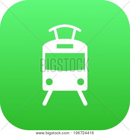 Vector Streetcar  Element In Trendy Style.  Isolated Tram Icon Symbol On Clean Background.