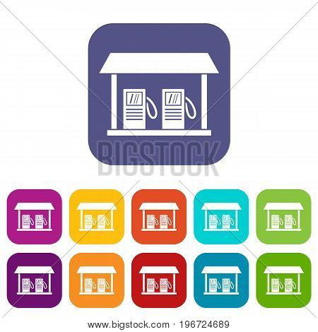 Gas station icons set vector illustration in flat style in colors red, blue, green, and other