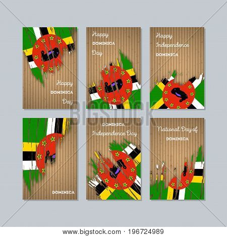 Dominica Patriotic Cards For National Day. Expressive Brush Stroke In National Flag Colors On Kraft