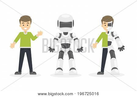 Half cyborg, half human. Isolated set of illustrations with happy smiling man and white robot.