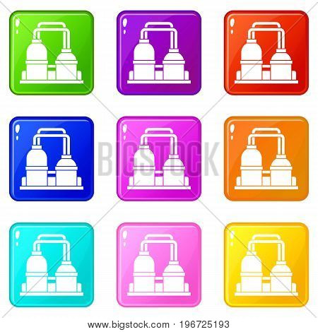 Oil processing factory icons of 9 color set isolated vector illustration