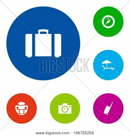 Collection Of Baggage, Chaise Longue, Direction And Other Elements.  Set Of 6 Journey Icons Set.