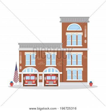 Isolated fire department building. Fire station with fire trucks.