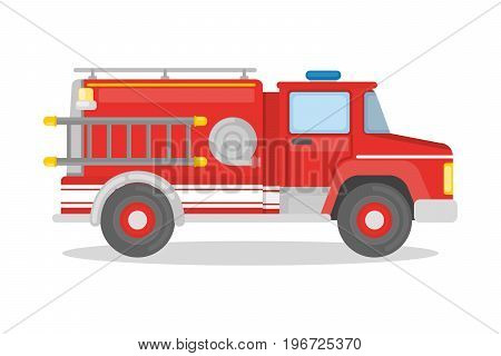 Isolated fire truck on white background. Ladder and hose.