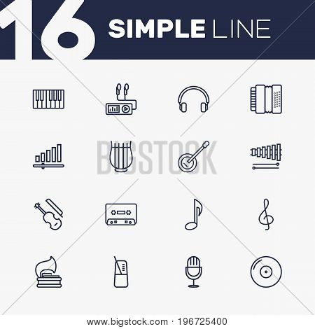 Collection Of Fiddle, Musical Sign, Gramophone And Other Elements.  Set Of 16 Song Outline Icons Set.