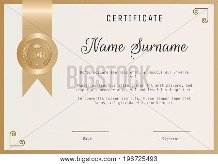 Certificate award template vector blank in gold colors. Ribbon and round award stamp.