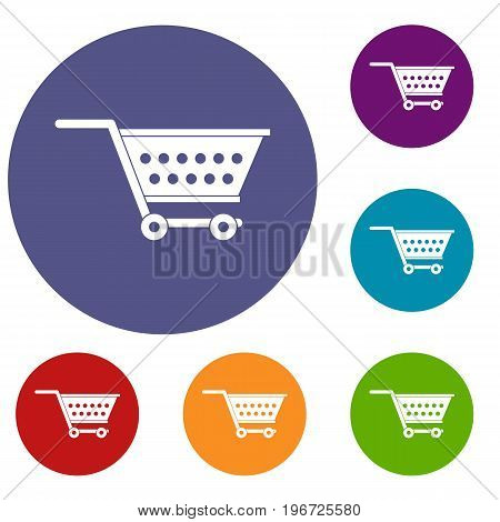 Empty supermarket cart icons set in flat circle red, blue and green color for web