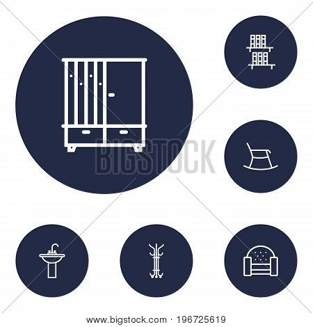 Collection Of Moving Chair, Hall Tree, Sofa And Other Elements.  Set Of 6 Set Outline Icons Set.