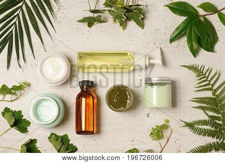 green cosmetic arrangement