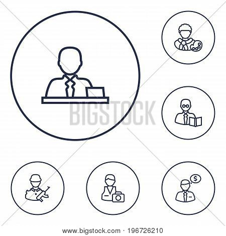 Collection Of Banker, Artist, Soldier And Other Elements.  Set Of 6 Job Outline Icons Set.