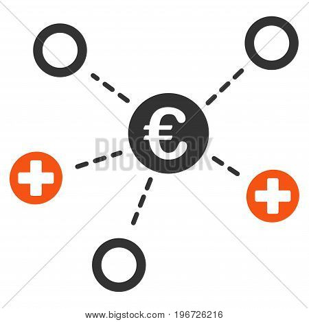 Euro Medical Links vector pictograph. Style is flat graphic symbol.