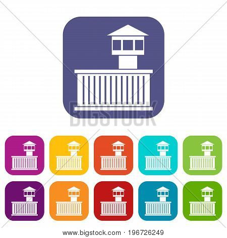 Prison tower icons set vector illustration in flat style in colors red, blue, green, and other