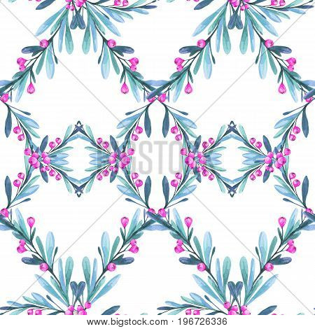 Watercolor geometric seamless pattern with leaves and berries. New Year. Merry Christmas. Celebration illustration