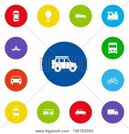 Collection Of Hatchback, Aircraft, Autobus And Other Elements.  Set Of 13 Traffic Icons Set.