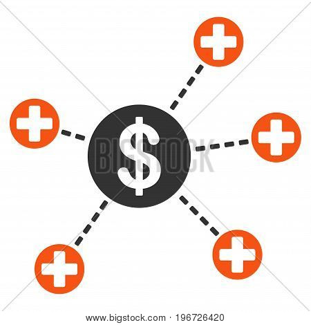 Financial Medical Links vector pictograph. Style is flat graphic symbol.