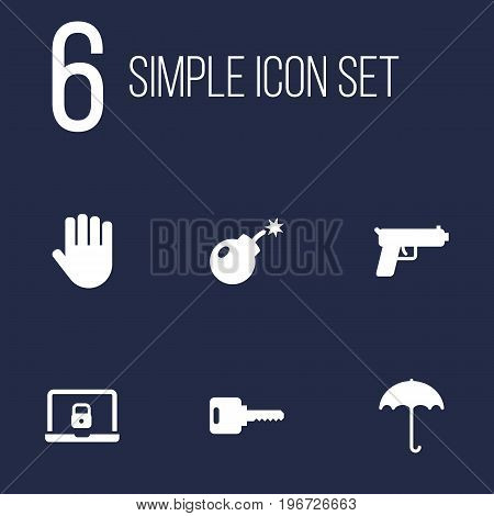 Collection Of Insurance, Notebook, Shot And Other Elements.  Set Of 6 Security Icons Set.