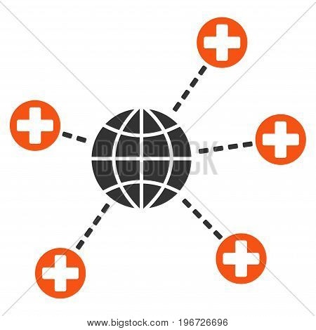 Global Medical Links vector pictograph. Style is flat graphic symbol.