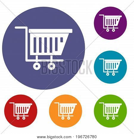 Empty plastic market trolley icons set in flat circle red, blue and green color for web