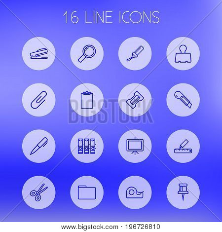 Collection Of Sharpener, Zoom Glasses, File Folder And Other Elements.  Set Of 16 Instruments Outline Icons Set.