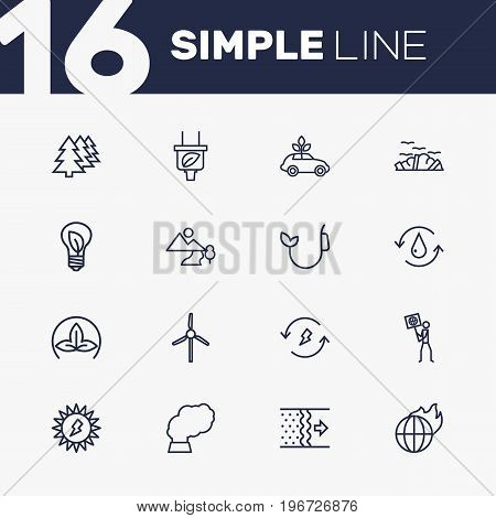 Collection Of Fuel, Air, Charge And Other Elements.  Set Of 16 Bio Outline Icons Set.
