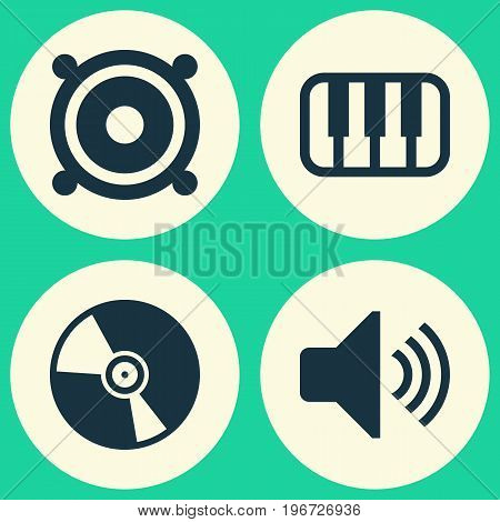 Music Icons Set. Collection Of Cd, Octave, Sound And Other Elements