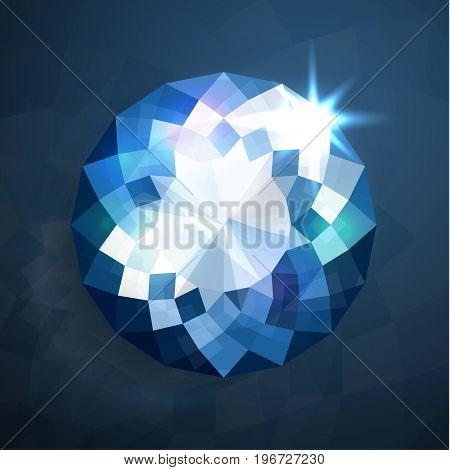 Shiny abstract blue diamond illustration - raster version