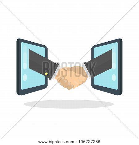 Handshake between screens. Shaking hands in agreement.