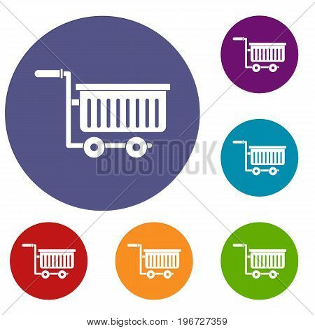 Large plastic supermarket cart icons set in flat circle red, blue and green color for web