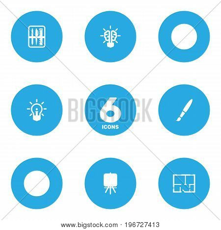 Collection Of Stand , Scheme , Bulb Elements.  Set Of 6 Creative Icons Set.