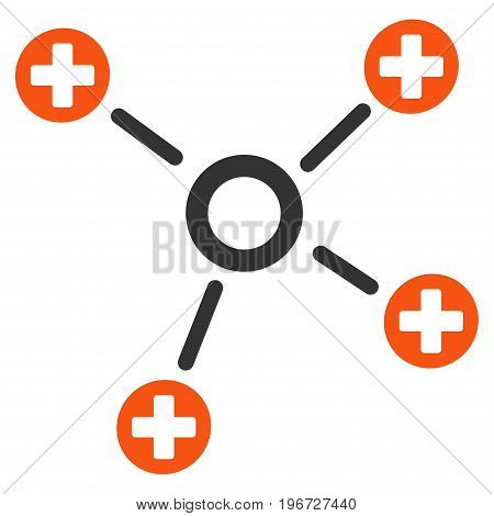 Health Care Links vector pictograph. Style is flat graphic symbol.
