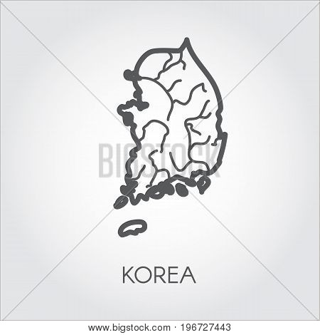 South Korea contour map. Simplicity icon in line style of country. Vector illustration template