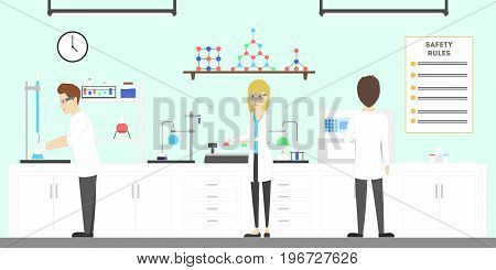 Lab interior with scientists. People discover new chemicals. Students gain new experience.