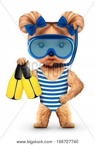 Funny animal in diving mask holding swimfin. Concept summer holidays, travel vacation concept. Realistic 3D illustration.