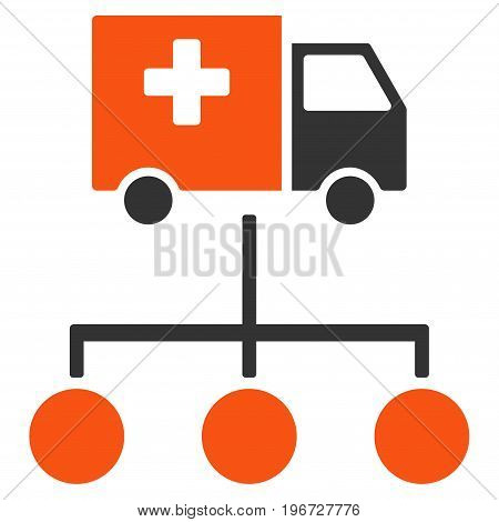 Medical Delivery Links vector pictogram. Style is flat graphic symbol.