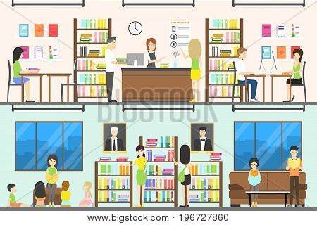Library set illustration. Big book shelves and collection. People read books.
