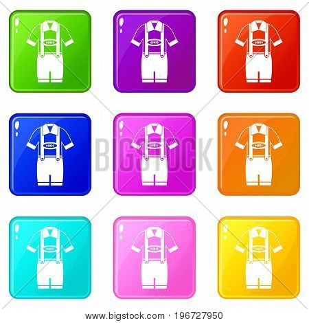 T-shirt and pants with suspenders icons of 9 color set isolated vector illustration